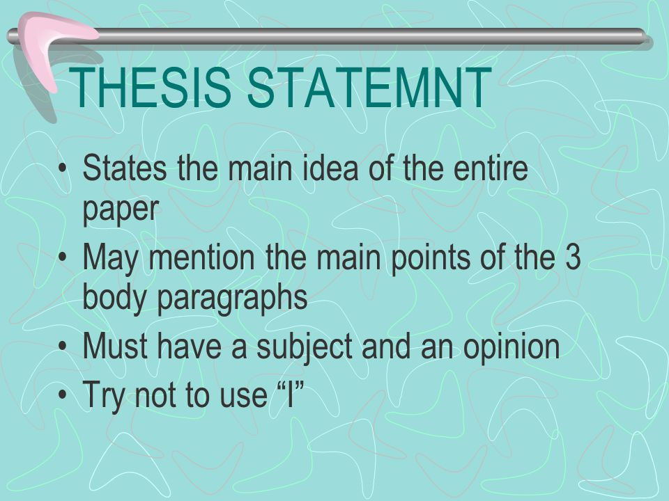 THESIS STATEMNT States the main idea of the entire paper