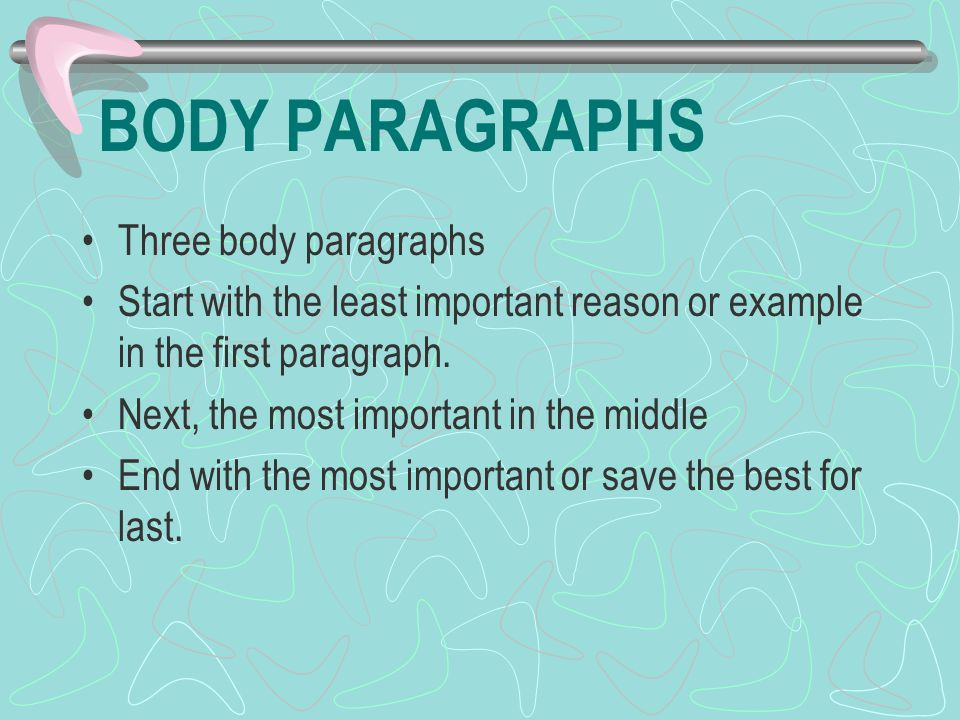 BODY PARAGRAPHS Three body paragraphs