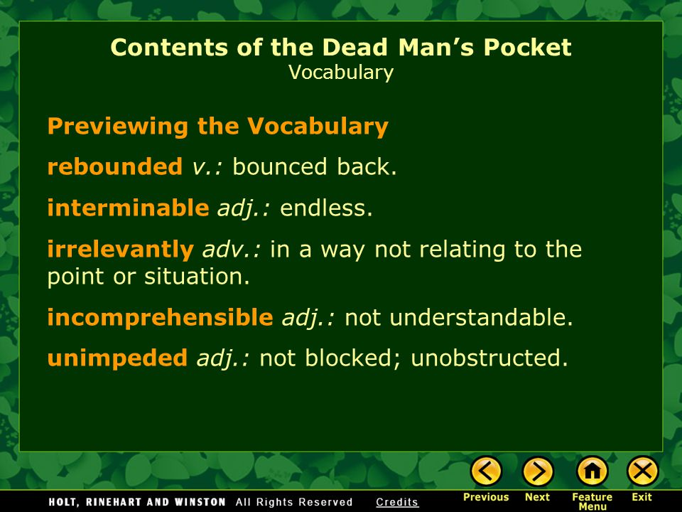Contents Of The Dead Man S Pocket By Jack Finney Ppt