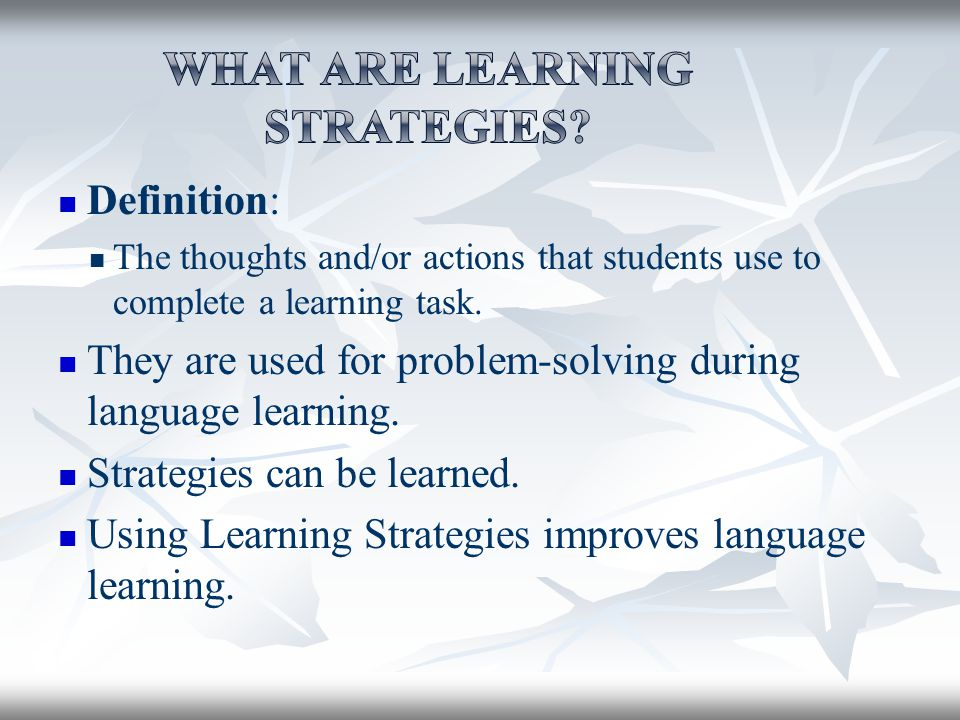thesis on language learning strategies Seameo regional language centre  to date, there has been little research  into learning strategies utilized for reading and writing in  learning strategies  were classified following oxford's (1990) six category taxonomy and an  ( unpublished doctoral dissertation, united states international university, san  diego, ca.