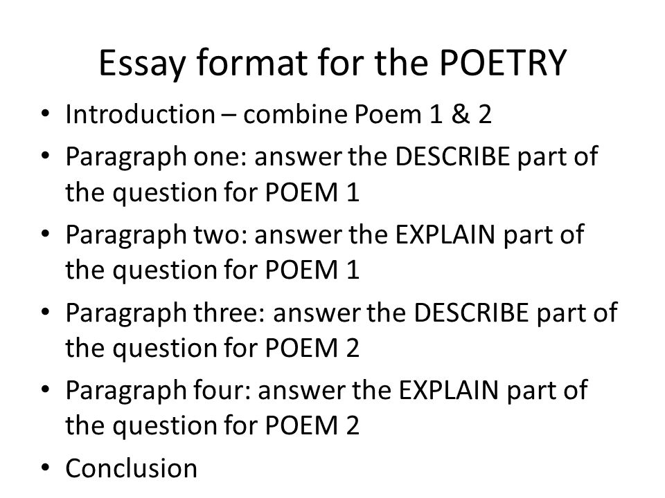 english poetry essay structure Department of english literature advice on essay information for english literature students essay so that your argument has a clear structure.
