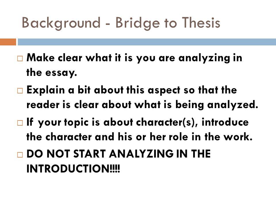Bridge essay introduction