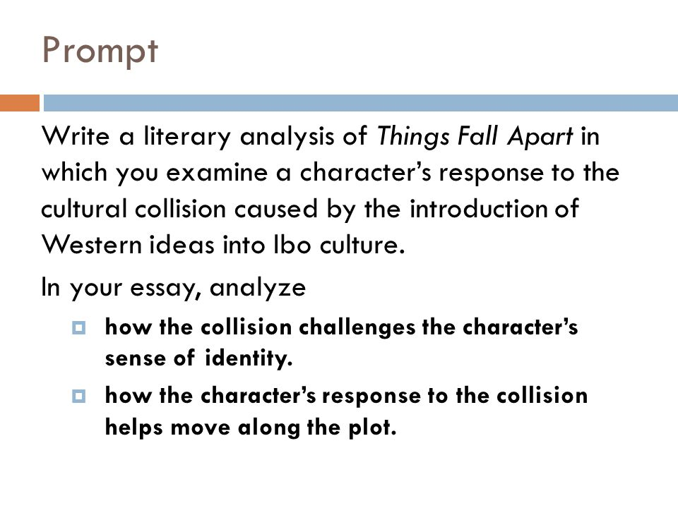 e a things fall apart literary analysis ppt video online  2 prompt