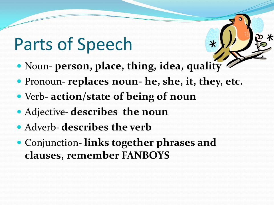 Parts of Speech Noun- person, place, thing, idea, quality