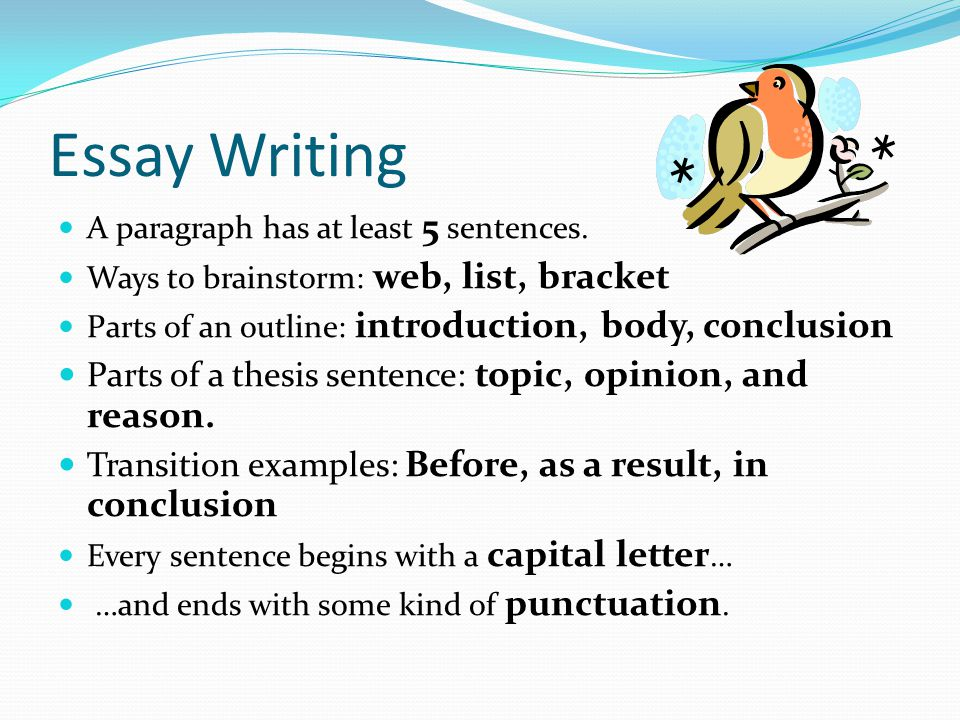 Essay Writing Parts of a thesis sentence: topic, opinion, and reason.