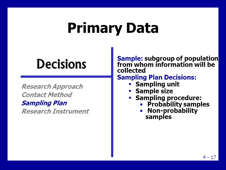 Primary Data Decisions Questionnaires
