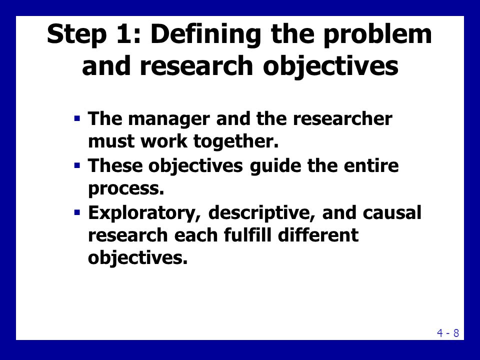 Research Objectives EXPLORATORY DESCRIPTIVE CAUSAL