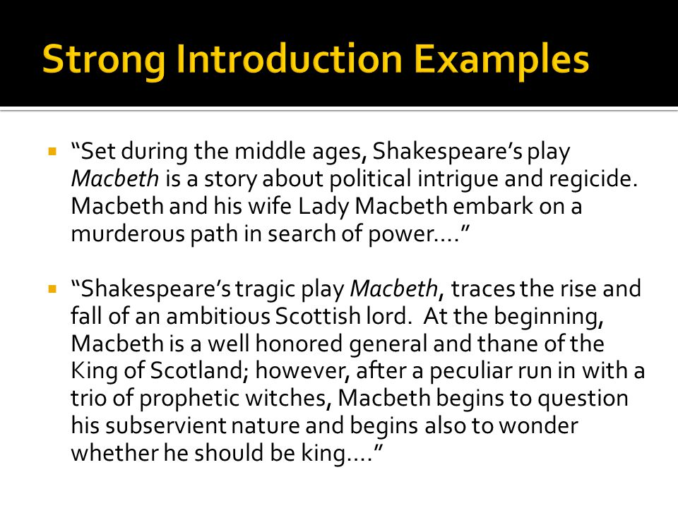 How To Write A Good Introduction For Macbeth Essay