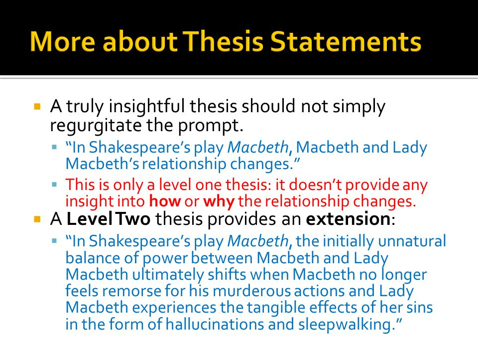 Macbeth thesis statements
