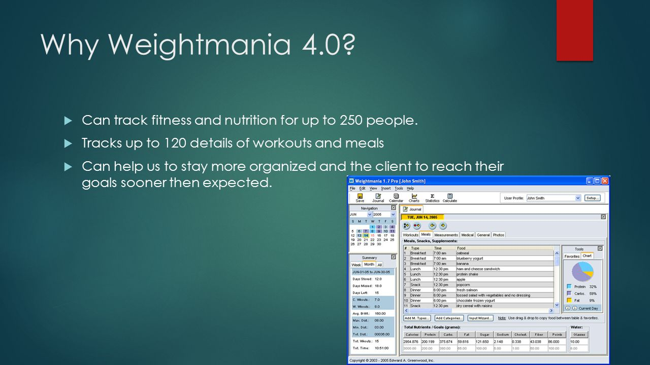 Why Weightmania 4.0 Can track fitness and nutrition for up to 250 people. Tracks up to 120 details of workouts and meals.