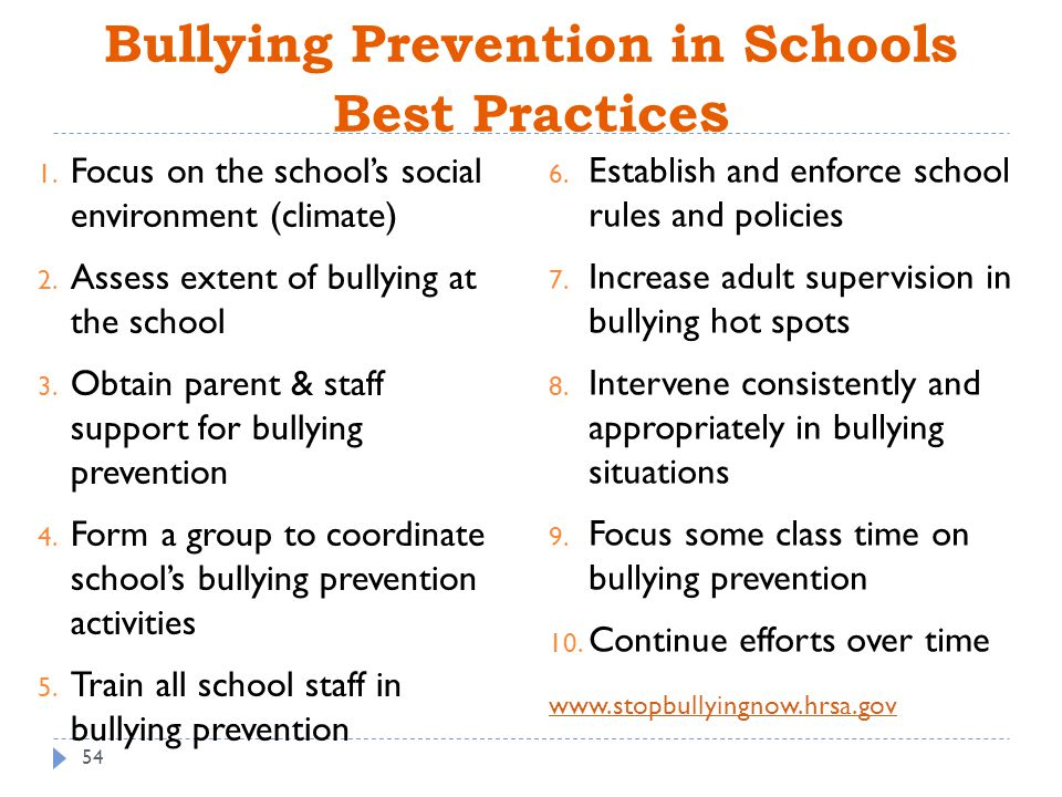 Bullying and supportive school climate