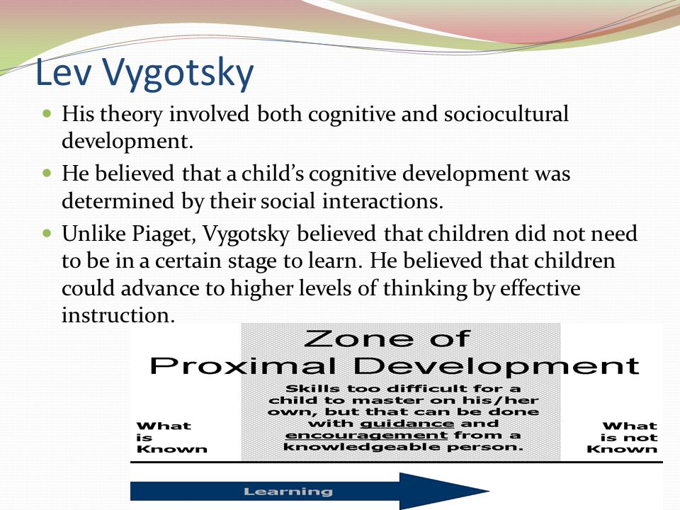 Lev Vygotsky His theory involved both cognitive and sociocultural development.
