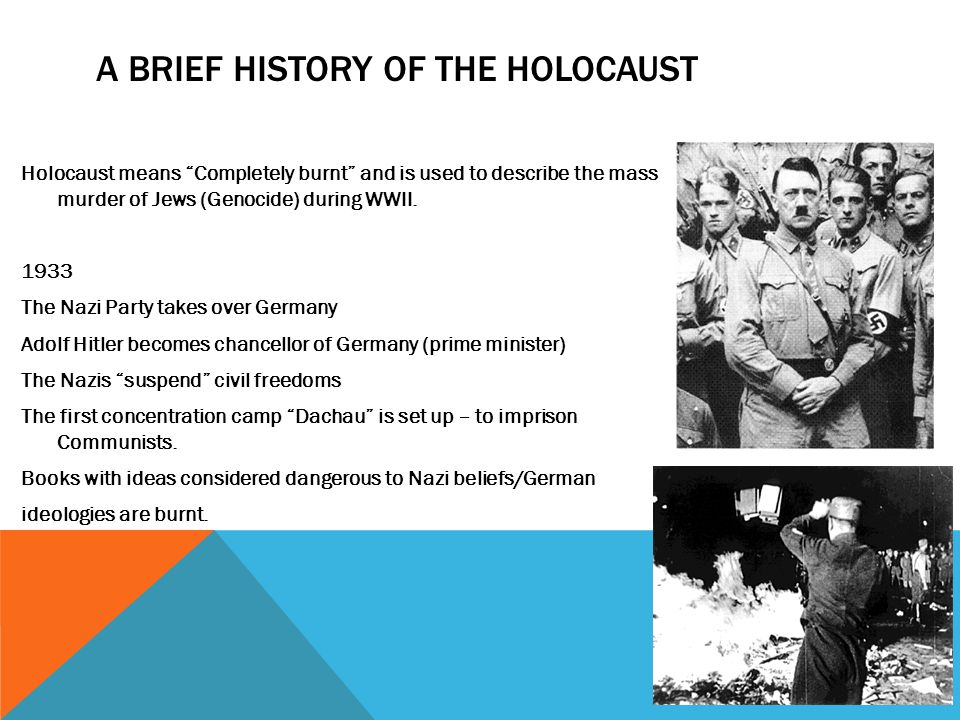 a brief history of the holocaust Genocide of the jews, 1933-45: a brief introduction to the holocaust  the  reader/viewer to the historical event of the nazi genocide of the.