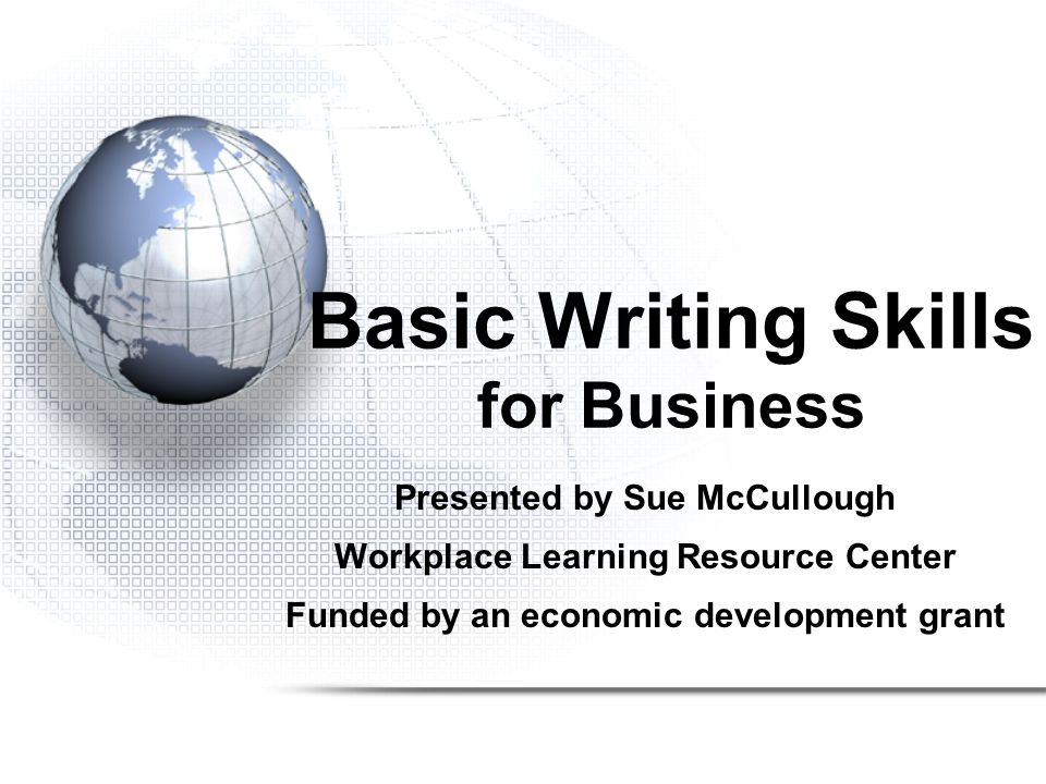 Basic Writing Skills for Business