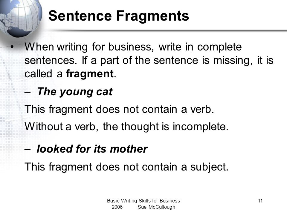 Basic Writing Skills for Business 2006 Sue McCullough