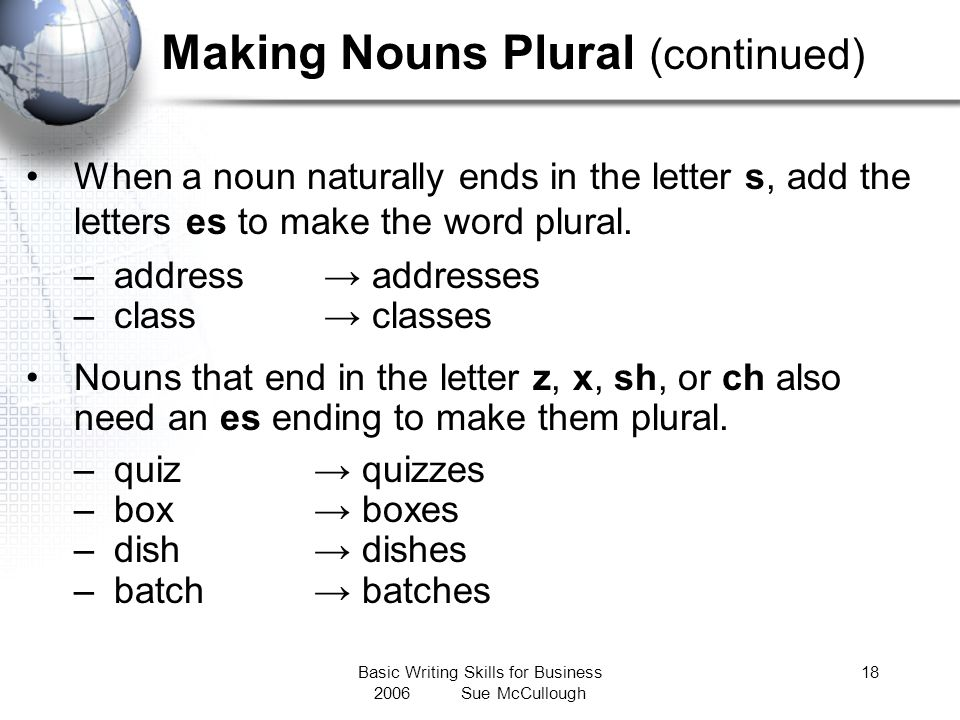Making Nouns Plural (continued)