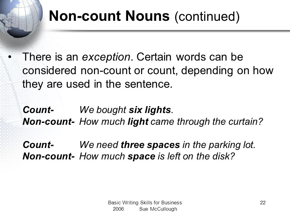 Non-count Nouns (continued)