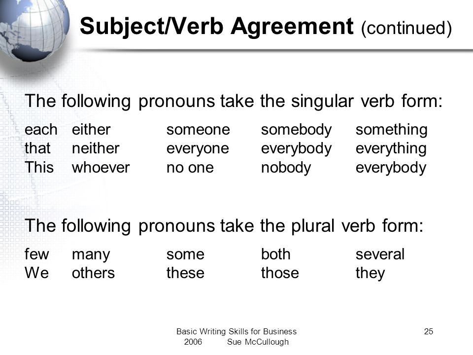 Subject/Verb Agreement (continued)