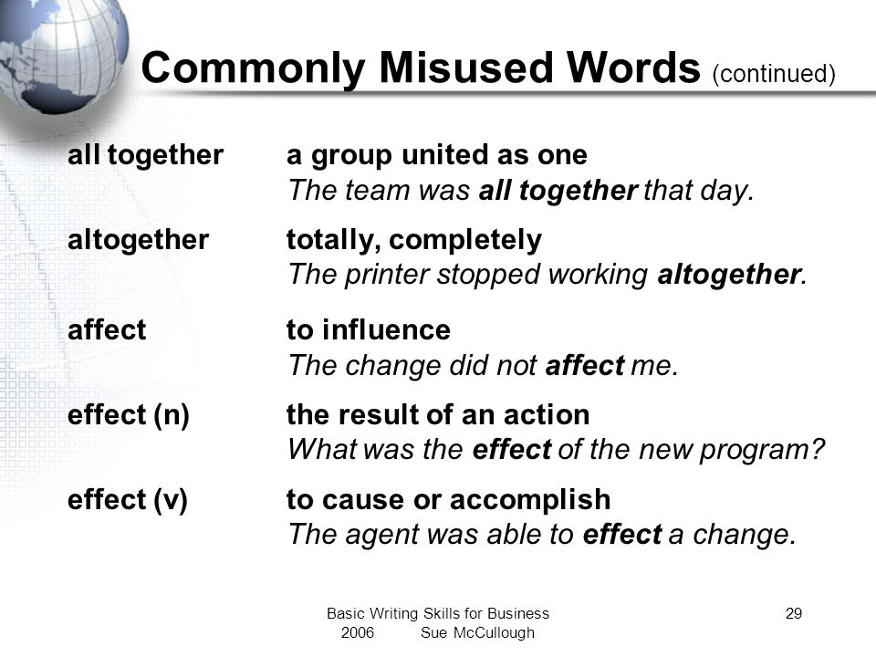 Commonly Misused Words (continued)