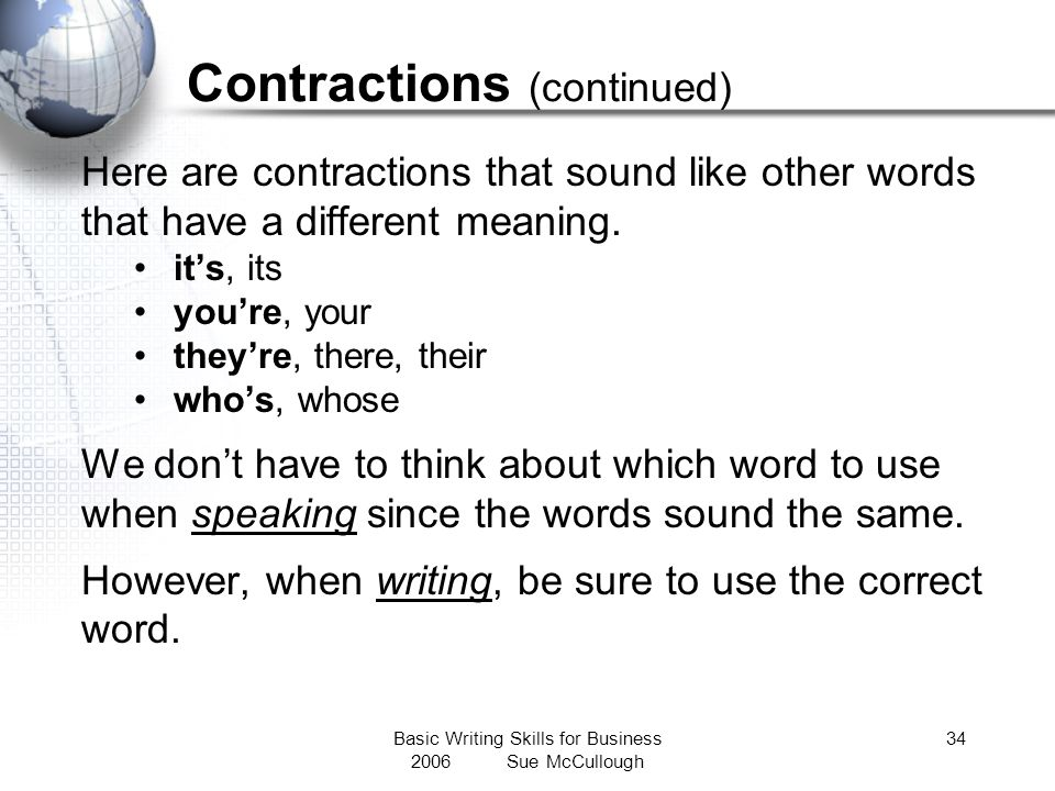 Contractions (continued)