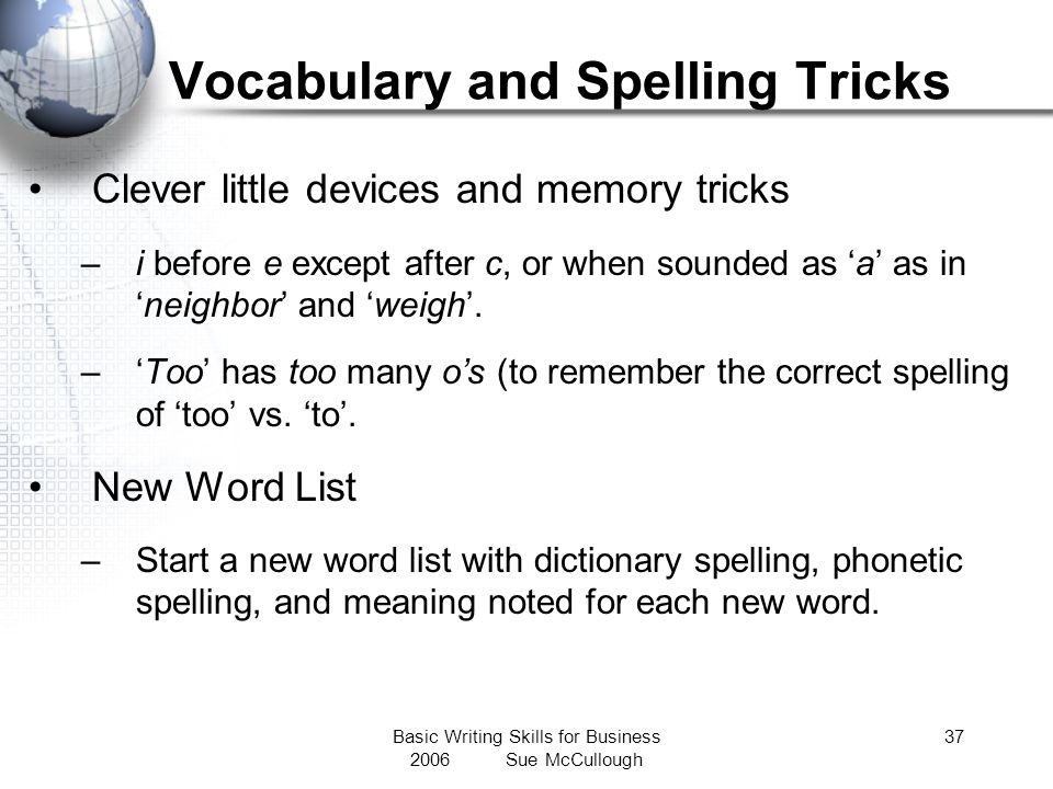 Vocabulary and Spelling Tricks