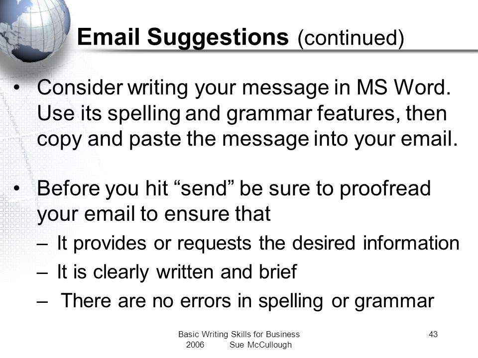 Email Suggestions (continued)