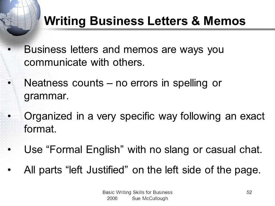 Writing Business Letters & Memos