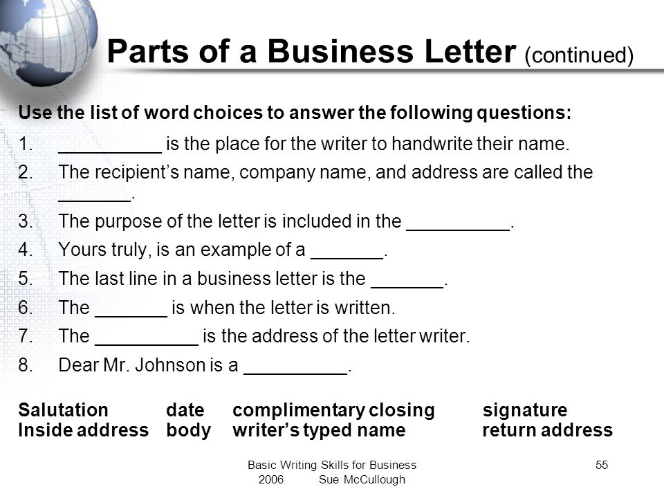 Parts of a Business Letter (continued)