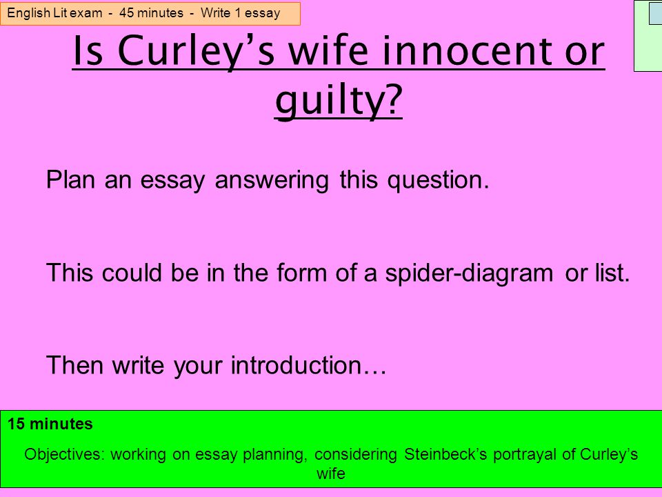 consider the importance of curleys wife essay Consider the importance of curley's wife essay consider the importance of curley's wife she has the title of curleys wife and is looked upon as.