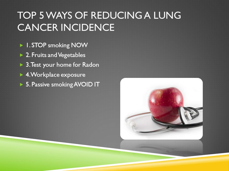 Top 5 ways of reducing a lung cancer incidence