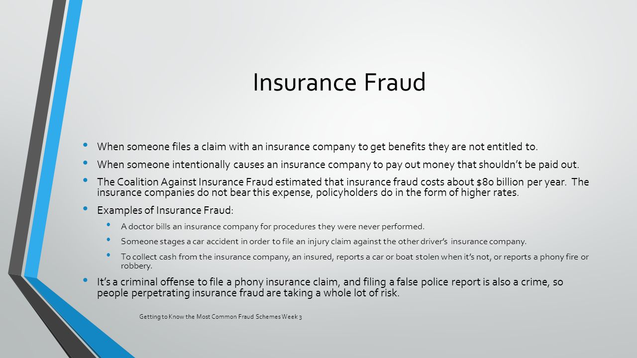 insurance fraud essay Legal aspects of healthcare student's name institutional affiliation legal aspects of healthcare healthcare fraud can be defined as a crime that encompasses misrepresentation of information, covering up information or deceiving people with the aim of making a financial gain.
