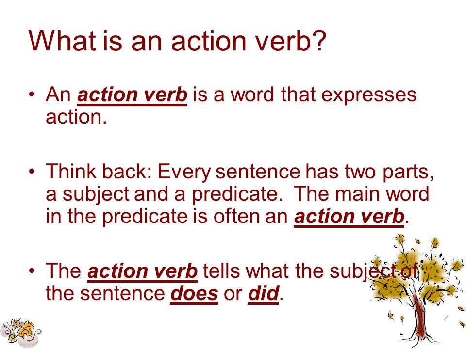 What Is An Action Verb An Action Verb Is A Word That Expresses Action.  What Is An Action Verb