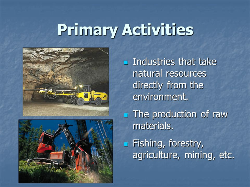 Primary Activities Industries that take natural resources directly from the environment. The production of raw materials.