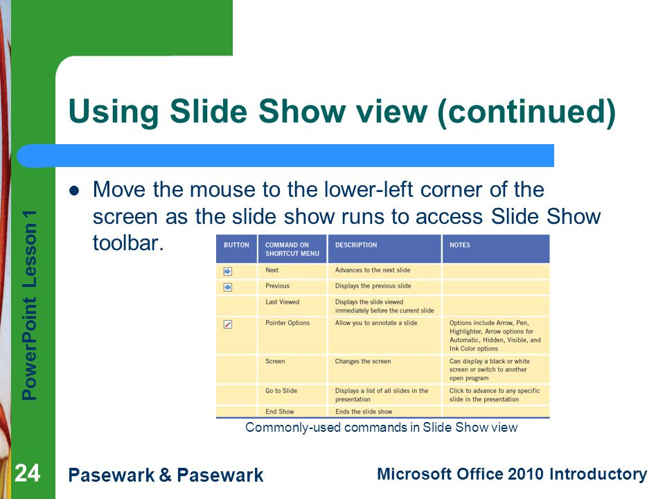 Using Slide Show view (continued)