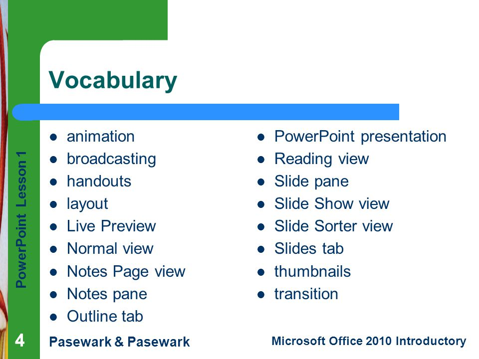 Vocabulary 4 4 animation broadcasting handouts layout Live Preview
