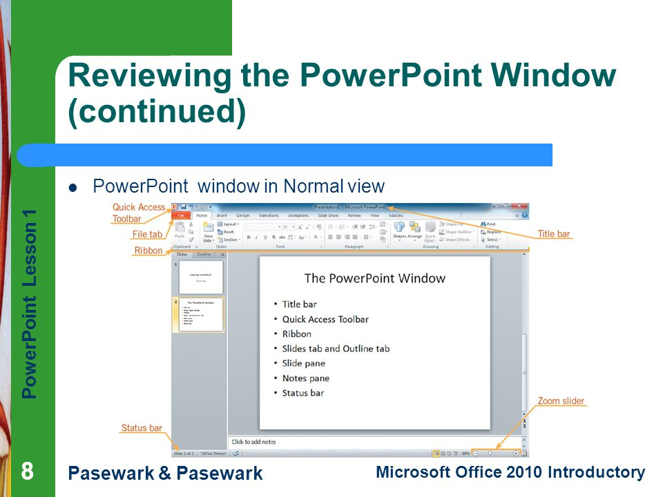 Reviewing the PowerPoint Window (continued)