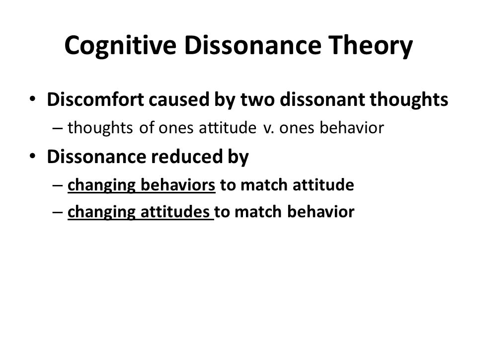cognitive dissonance and theory of planned behaviour Privacy cynicism serves as a cognitive coping mechanism, allowing users to   behavioral theories such as the theory of planned behavior (ajzen, 1991)   attitudes of privacy cynicism, in order to avoid cognitive dissonance (festinger,  1957.