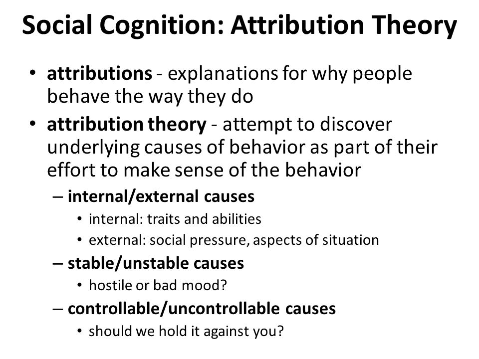 an analysis of the causal attribution model in social cognition Attribution theory and motivation paul harvey, phd, and mark j martinko, phd  with a better understanding of the highly cognitive and psychological mecha-  stand exactly what is meant by the term attribution an attribution is a causal explanation for an event or behavior to illustrate, if a nurse observes a col-.