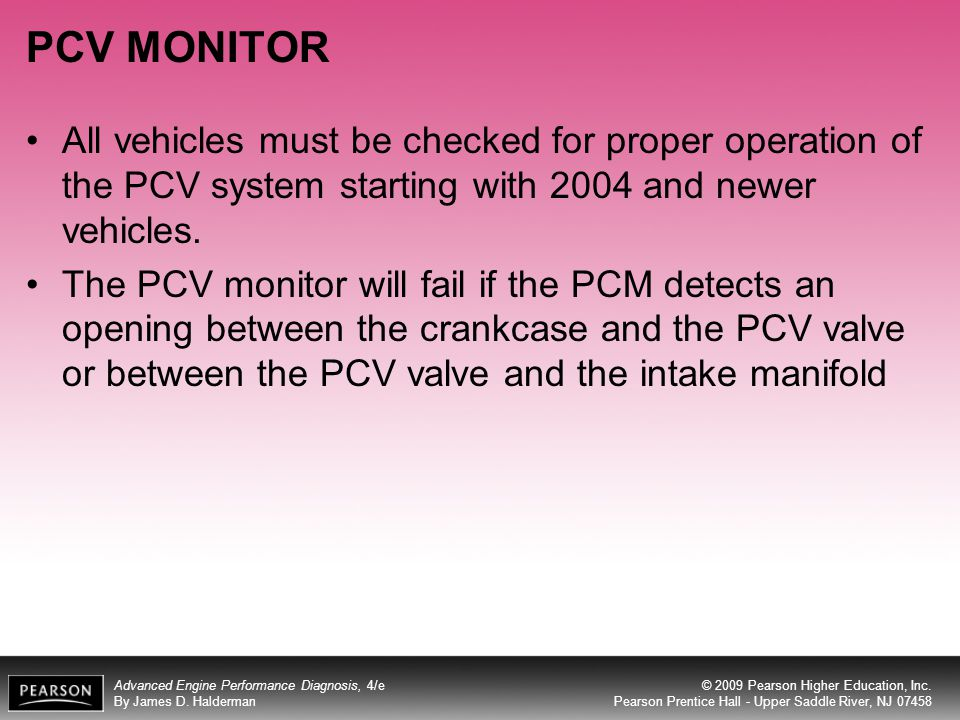 PCV MONITOR All vehicles must be checked for proper operation of the PCV system starting with 2004 and newer vehicles.