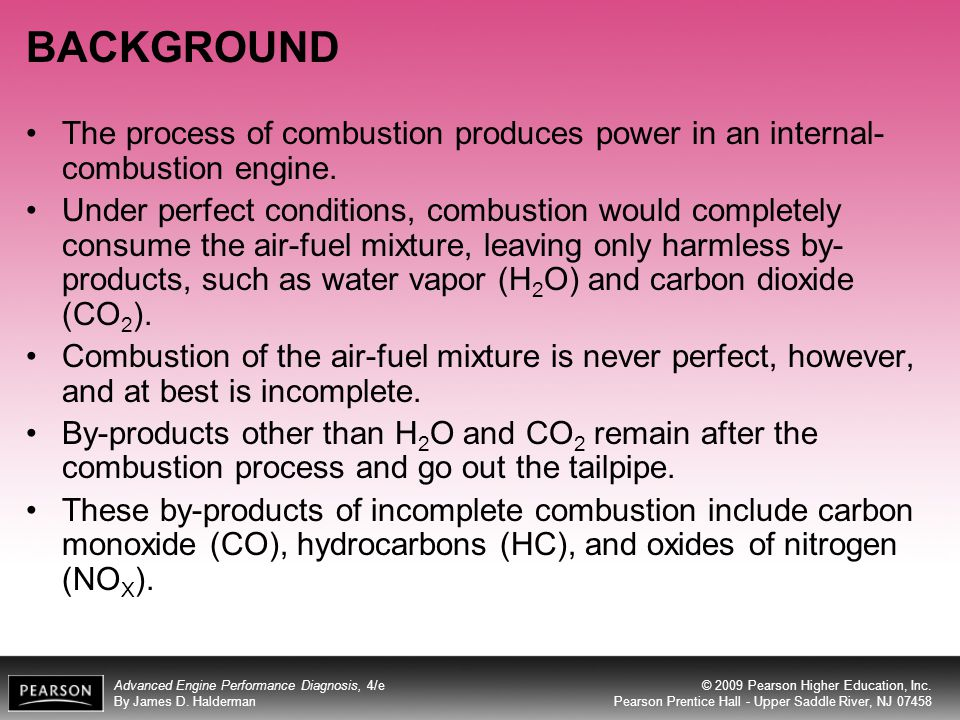 BACKGROUND The process of combustion produces power in an internal-combustion engine.