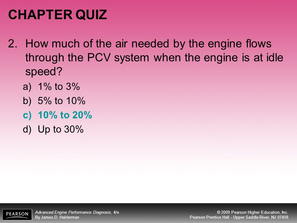 CHAPTER QUIZ 2. How much of the air needed by the engine flows through the PCV system when the engine is at idle speed