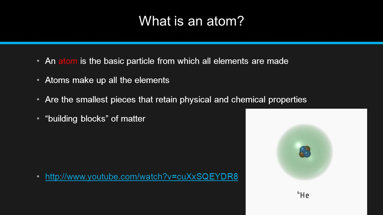 What is an atom An atom is the basic particle from which all elements are made. Atoms make up all the elements.