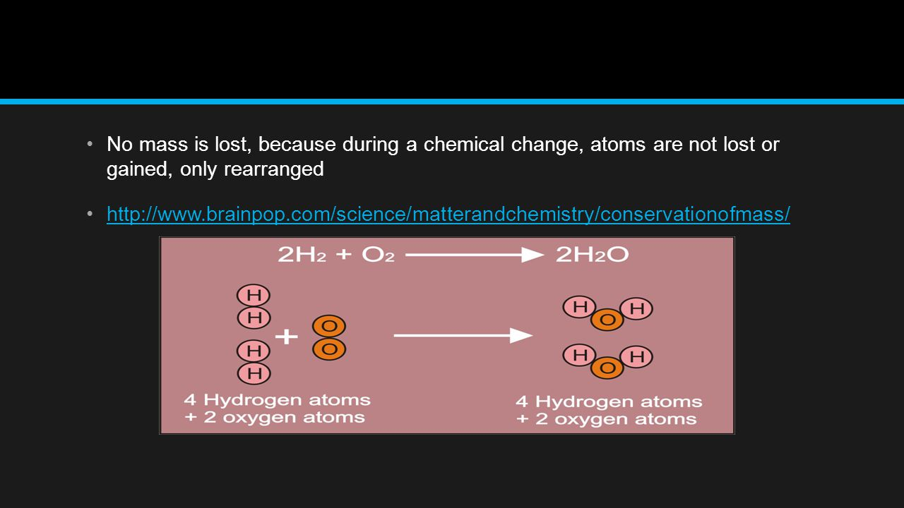 No mass is lost, because during a chemical change, atoms are not lost or gained, only rearranged