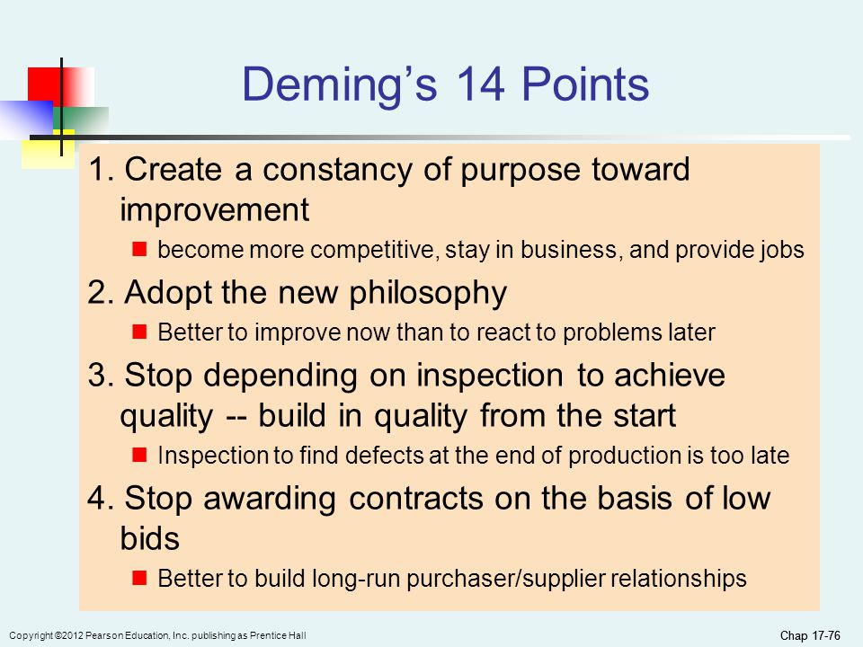 application of deming 14 points to improve Demings 14 points condensation of the 14 points for management the 14 points for management (out of the crisis, ch2) in industry, education and government follow naturally as application of this outside knowledge, for transformation from the present western style of management to one of optimization.