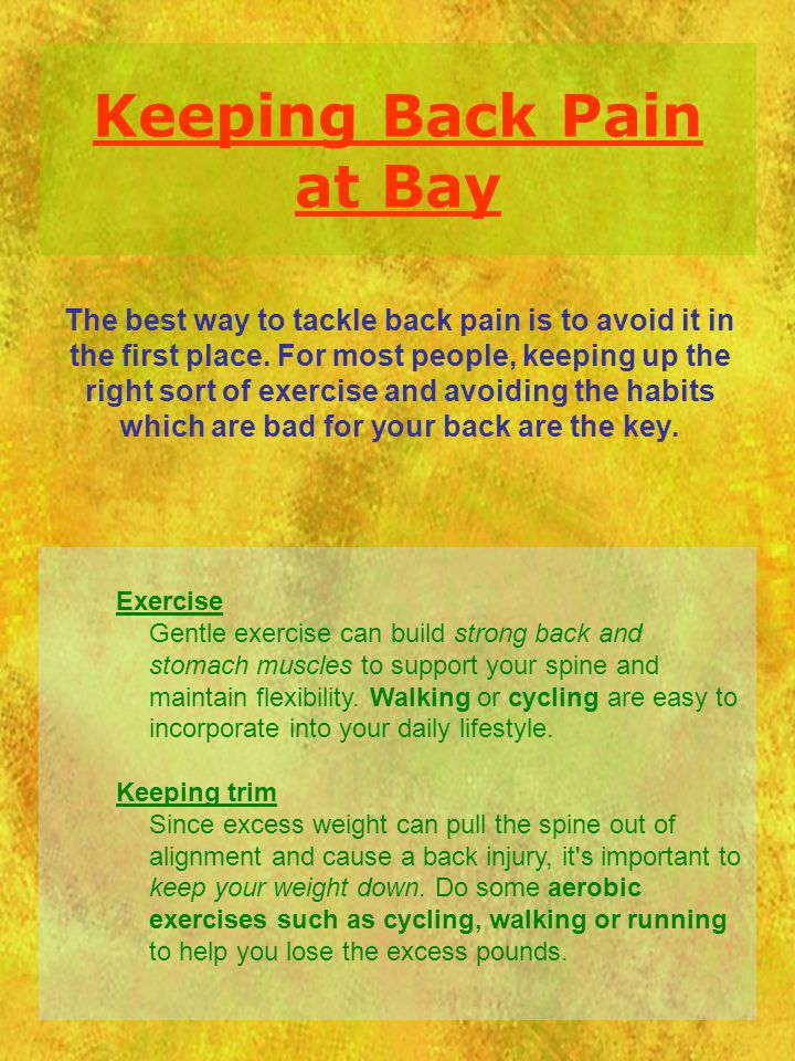 Keeping Back Pain at Bay