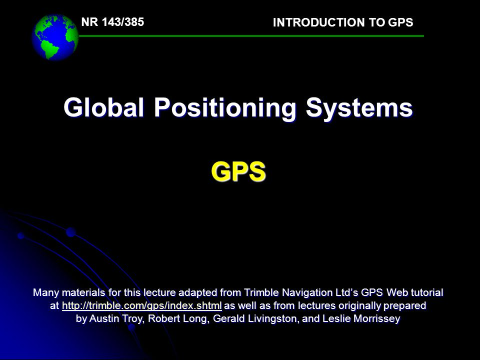 Global Positioning Systems Gps Ppt Video Online Download