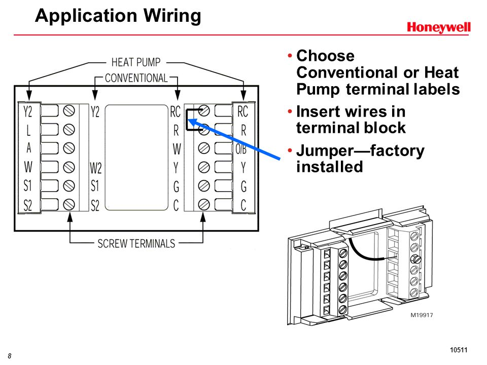 Application+Wiring+Choose+Conventional+or+Heat+Pump+terminal+labels commercial visionpro™ ppt download honeywell tb8220u1003 wiring diagram at readyjetset.co