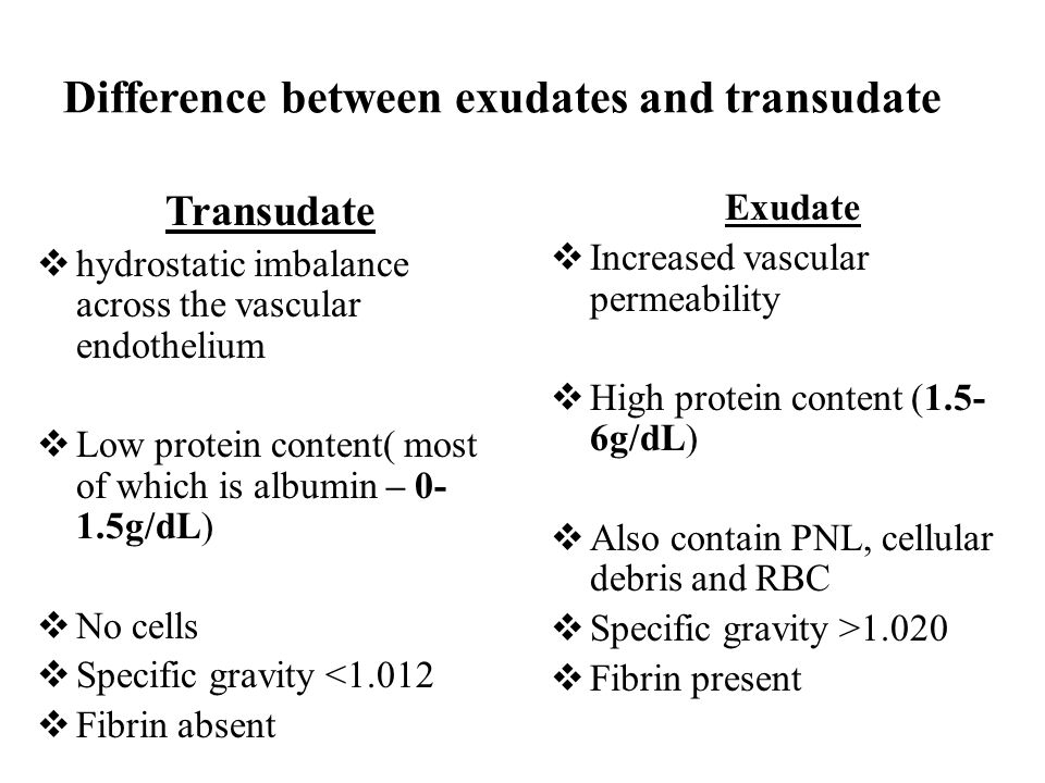 difference between transudate and exudate pdf