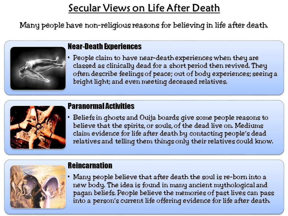 non religious reasons for believing in There are lots of reasons for this some people do not want to believe in life after death, especially when they are severely depressed these people want to believe that suicide would end their .