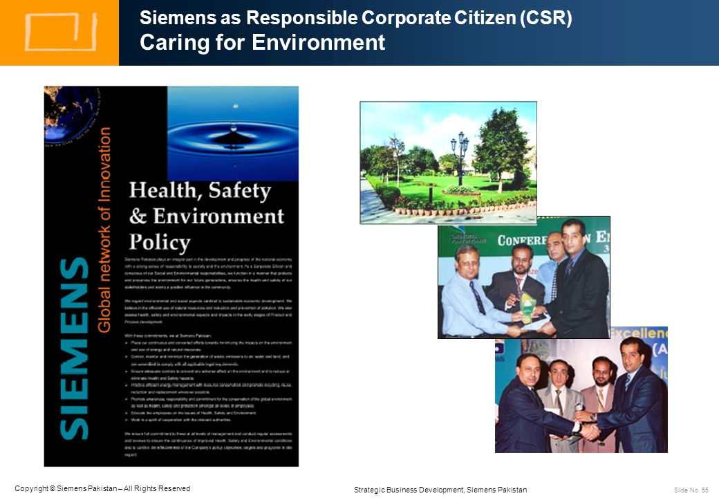 Siemens as Responsible Corporate Citizen (CSR) Caring for Environment